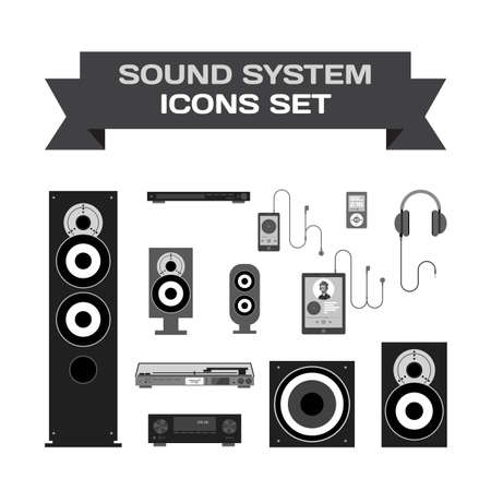 subwoofer: Home sound system. Home stereo flat vector set icons for music lovers. Loudspeakers, player, receiver, subwoofer, computer, remote, vinyl, smartphone, tablet, headphones icons for listening to music