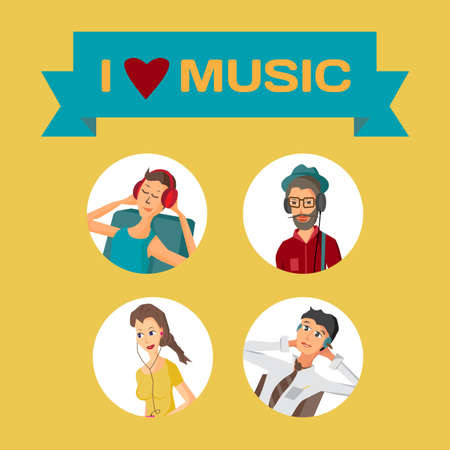 listening to people: Vector modern flat design avatar people wearing headphones listening music. Cartoon character of music lovers enjoying his favorite track. Music lovers in different situations: home, office, street