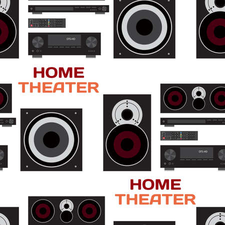 home theatre: Seamless textile pattern with home theatre flat vector illustration for music lovers. Loudspeakers, player, receiver, subwoofer, remote, background home theatre