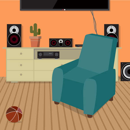 surround system: Home sound system in interior room. Home music flat vector illustration. Loudspeakers, player, receiver for home music lover in the apartment. Great place to relax on the armchair