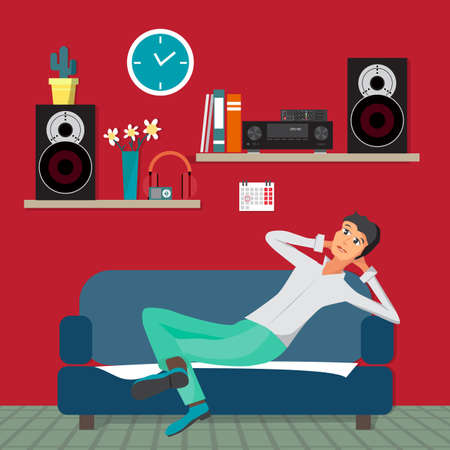 rest in peace: Home sound system in interior room. Home music flat vector illustration. Loudspeakers, player, receiver for home music lover in the apartment. Great place to relax on the sofa