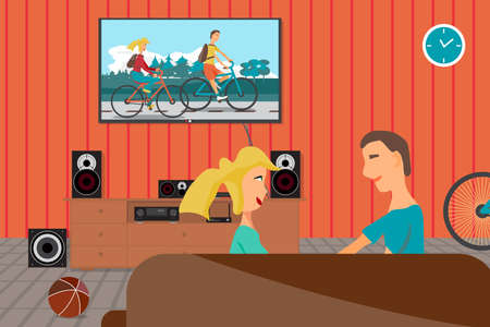 they are watching: Young couple sitting on the couch and watching record as they rode bicycles. Interior flat vector illustration. TV, loudspeakers, player, receiver, subwoofer for home movie theater. Bi?ycle in room Illustration
