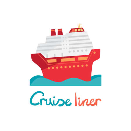 ocean liner: Cruise ship, ocean liner in water. Vector illustration flat design. Boat for cruises in cartoon style Illustration