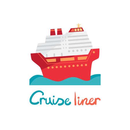 ocean liner: Cruise ship, ocean liner in water. Vector illustration flat design. Boat for cruises in cartoon style Illustration