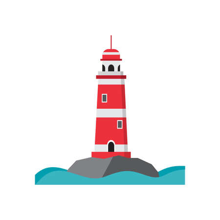 searchlight: Sea lighthouse on a rocky island. Flat isolated vector illustration. Light house red with white stripes, with a high round roof. Searchlight towers and beach and summer vacation