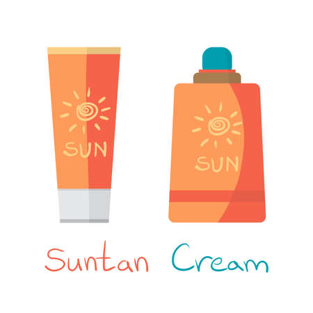 suntan: Sunscreen Care Sun Protection Cosmetics container orange vector illustration. ?ream suntan icon flat style isolated white background