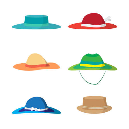 headgear: Set of different colored beach hats. Headgear to protect against the sun on the beach. Flat vector illustration isolated on white background Illustration