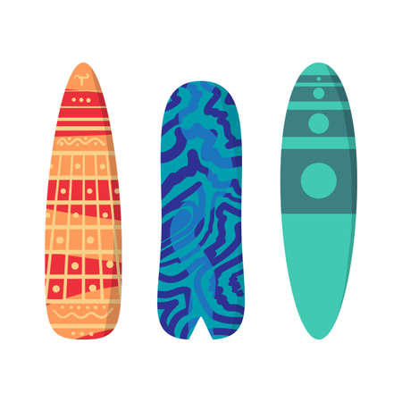 surfboards: Vector flat set surfboards isolated on white background. Surfboards abstract bright pattern. Surfboards set. Surfboards collection Illustration