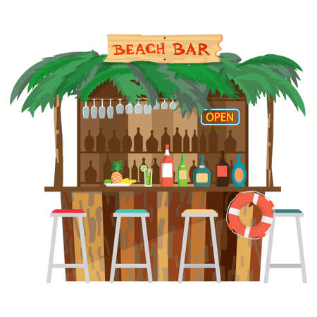 Bar bungalows on the beach ocean coast. Vector flat cartoon isolated illustration. Summer vacation in a tropical beach. Relaxing at the beach bar, drinks, fruits