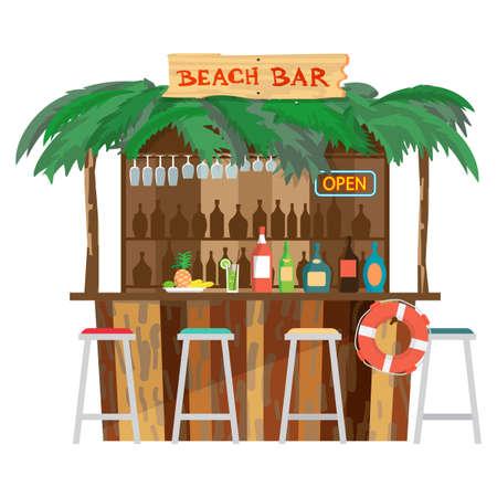 bungalows de barras en la costa de la playa del océano. Vector de dibujos animados plana aislados ilustración. Las vacaciones de verano en una playa tropical. Relajante en el bar de la playa, bebidas, frutas