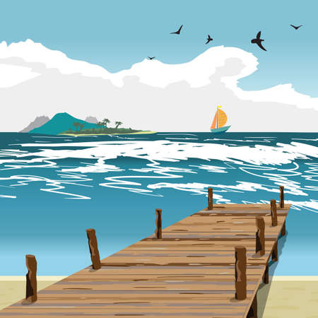 jetty: Sea landscape summer beach, old wooden pier, island and yacht in the distance. View with wooden pier in summer vacation. Summer background on beach. Vector flat illustration Illustration
