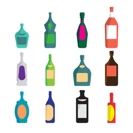 Insieme vettoriale di bottiglie diverse per il vino, cognac, liquore, champagne, martini, vodka, birra, tequila, whisky. assortimento di contenitori di alcol. Vector cartoon piatto isolato illustrazione Vettoriali