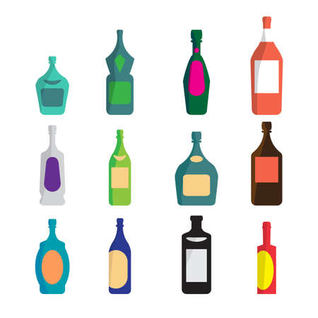 liqueur: Vector set of different bottles for wine, cognac, liqueur, champagne, martini, vodka, beer, tequila, whiskey. Alcohol assortment of containers. Vector flat cartoon isolated illustration