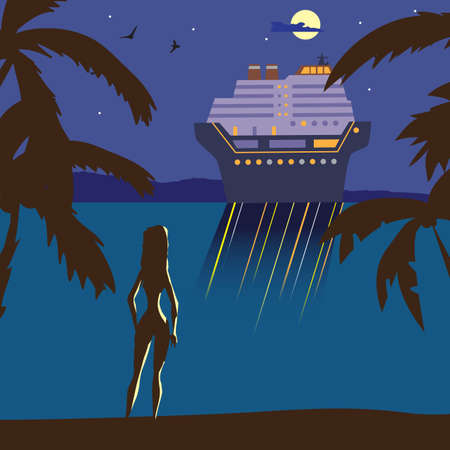 Summer beach landscape at night. Silhouette of a girl on the beach, lights of a cruise ship in the distance, in the moonlight. Relax on the beach during summer vacation. Vector flat illustration. Illustration