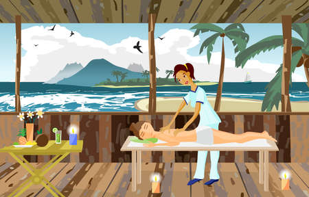 masseuse: Vector illustration of woman pampering herself by enjoying day spa massage on the beach, back massage, wellness wooden salon in thailand, flat cartoon illustration