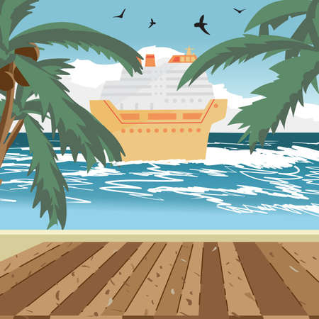 wave tourist: Sea landscape summer beach, wooden floor, cruise ship in the distance. View with palm trees on a beach in summer evening vacation. Evening summer background on beach. Vector flat illustration Illustration