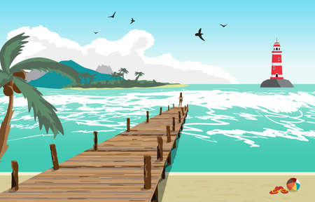 pier: Sea landscape summer beach, silhouette of a woman on old wooden pier, lighthouse on the island in the distance. View with palm trees on a beach, wooden pier. Vector flat illustration Illustration