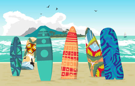 surfboards: Sea landscape summer beach, surfboards stuck in the sand. Beach of the sea to the island in the distance in summer vacation. Surfboards set. Surfboards collection. Vector flat illustration