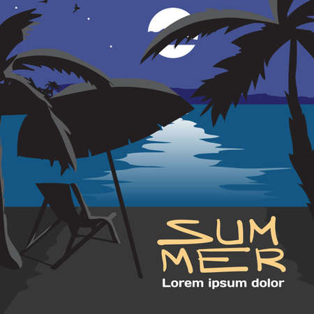 Summer Vacation Concept Background With Space For Text Vector Cartoon Flat Illustration Beach