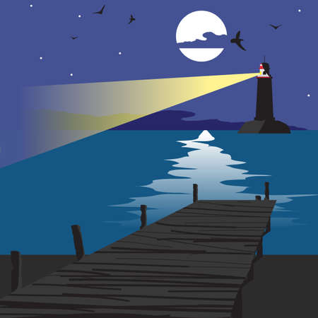 night moon: Summer beach landscape at night with a wooden pier and a lighthouse shining in the distance. Lunar path on water in summer night vacation. Vector flat cartoon illustration. Illustration