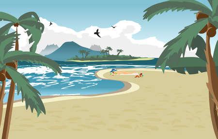 Morze krajobraz Latem plaża, palmy i prywatna plaża. Kobieta w niebieskim kapeluszu opalania nago. Latem tła z nagiej kobiety na plaży. Wektor ilustracja kreskówka płaskim