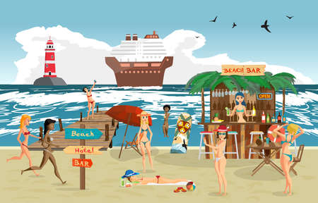 sunbathe: Sea landscape summer beach. Vector cartoon flat illustration. Beach bar with bartender, a woman in a bikini to swim and sunbathe, play sports. Cruise ship and lighthouse Illustration