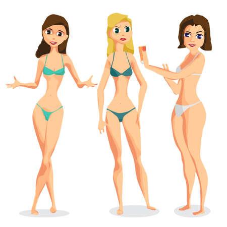 girls in underwear: Set three women dressed in swimsuit is standing sunbath. Isolated flat cartoon illustration. The comic girls on the beach in bikini.