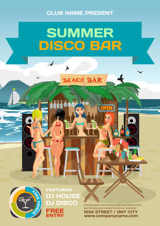 summer party invitation beach disco style. Day beach, bar with sound system, womens hen party in bikinis. Posters, invitations. template beach summer party poster. Çizim