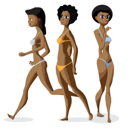 ropa interior niñas: Conjunto de tres mujeres de raza negra afro vestidas en traje de baño está de pie. ilustración de dibujos animados plana aislada. Las chicas de historietas en la playa en bikini.