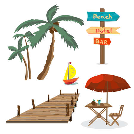 pier: Set of summer beach objects. Summer Holidays. Palm trees, a wooden pier, a table with an umbrella, a wooden pointer, yacht