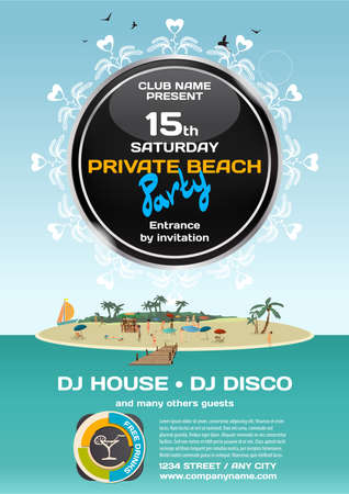 private party: summer party invitation private beach. Day beach, bar, pier, crowd women in bikinis on the island. Posters, invitations. template beach summer party poster. Illustration