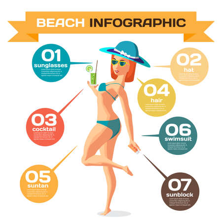 sunbathe: Infographic set flat design about woman on the beach. Clothing, accessories, things on beach and the use. Infographics beach time, sunbathe, swim, leisure, favorite Illustration