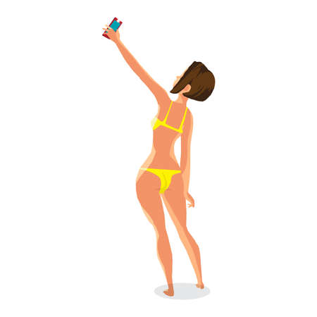 Brunette woman dressed in yellow swimsuit is standing and makes selfie. Back view. Isolated flat cartoon illustration. The comic girl on the beach in yellow bikini with smartphone. Illustration