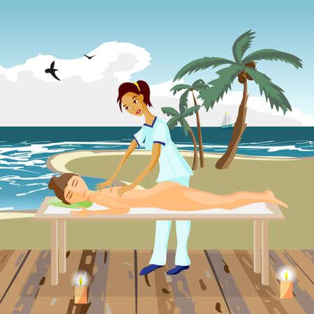 illustration de femme nue se dorloter en profitant de massage spa de jour sur la plage, massage du dos, bien-être salon en bois en thailande, illustration de bande dessinée plat Vecteurs