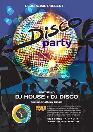 summer party invitation disco style. Night beach, crowd women in bikinis, palm trees, disco ball posters, invitations. template night summer party poster. Stock Vector - 58044194