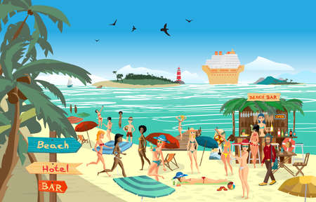 sunbathe: Sea landscape summer beach. cartoon flat illustration. Beach bar with bartender, a woman in a bikini to swim and sunbathe, play sports. Cruise ship, island and lighthouse