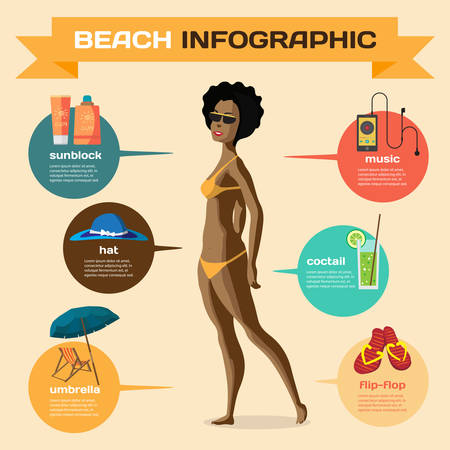 sunbathe: Infographic set flat design about afro woman on the beach. Clothing, accessories, things on beach and the use. Infographics beach time, sunbathe, swim, leisure, favorite Illustration