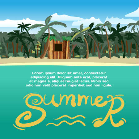 shack: Summer vacation concept background with space for text. Sea landscape summer tropical beach with palm trees and a small wooden hut. cartoon flat illustration.