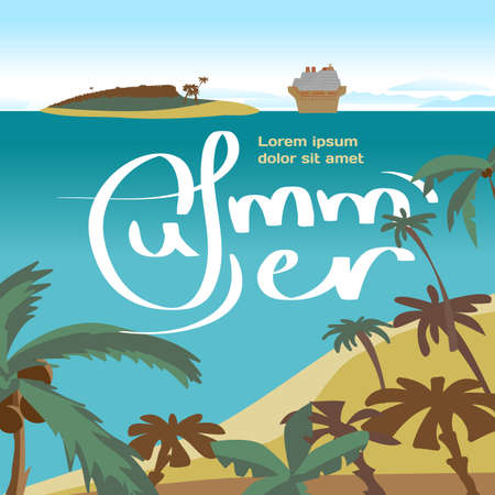 cruise liner: Summer beach concept background with space for text. Sea landscape summer beach, palms, island, cruise ship. cartoon flat illustration. Beach, sea, island and a cruise liner in the distance Illustration