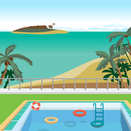 Outdoor swimming pool on the beach in the tropics. Sea landscape summer beach, pool, palms, island. Vector cartoon flat illustration.