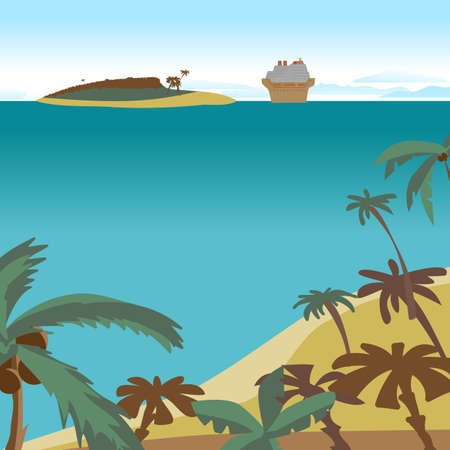 spacing: Summer beach concept background with space for text. Sea landscape summer beach, palms, island, cruise ship. Vector cartoon flat illustration. Beach, sea, island and a cruise liner in the distance