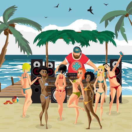 ベクトル夏パーティー招待ビーチ スタイル。日ビーチ、サウンド システム、ビキニ姿の観客女性 dj。ポスター、招待状やチラシ。ベクトル テンプレート ビーチ夏パーティ告知ポスター。 写真素材 - 58465244