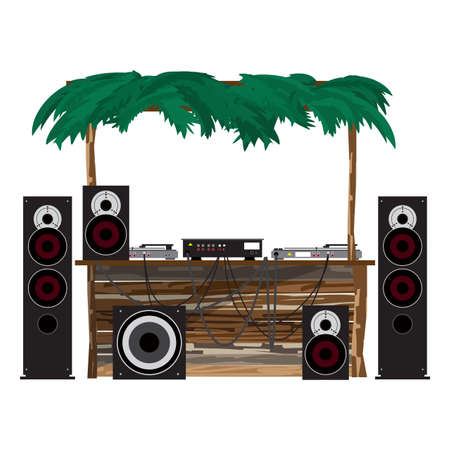 Summer party: dj console on the beach. Equipment for disco in a wooden bungalow. Set of loudspeakers, subwoofer, turntables, a mixer for a disco on the beach. Vector flat cartoon isolated illustration