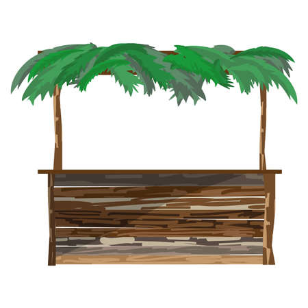 arbor: Open arbor bungalow on a beach with wooden tableand a roof of palm branches. Tropical resort. Flat cartoon vector illustration isolated Illustration