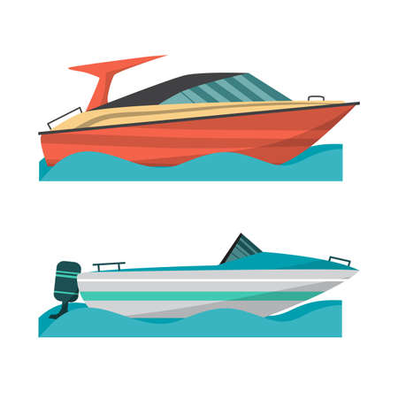 motor boat: Set motor boat and small boat with outboard motor. Sea or river ship, flat cartoon illustration. Sea and river vehicles. Isolated on white background
