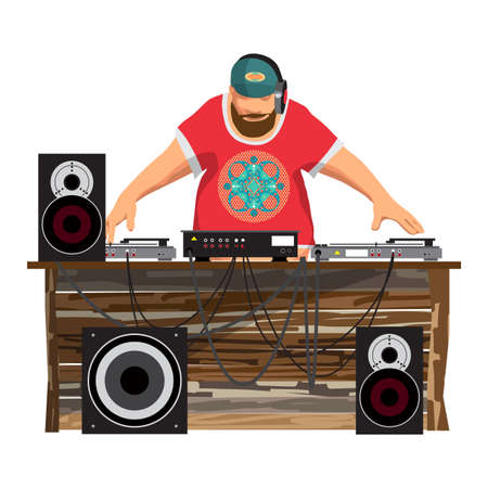 Summer party: DJ and his equipment, dance music, vector flat cartoon illustration on a isolated background. Set of loudspeakers, subwoofer, turntables, a mixer for a disco on the beach. Illustration