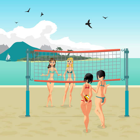 beach ball girl: Four girls playing volleyball on the beach. Beach volleyball, net, women in bikinis. Flat cartoon illustration. Start the game, the girl holding the ball behind his back Illustration