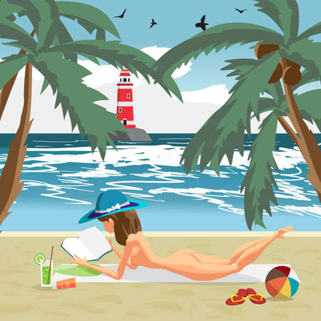 Sea landscape summer beach, palms and a private beach. Woman in a blue hat sunbathing naked. Summer background with nude woman on the beach.
