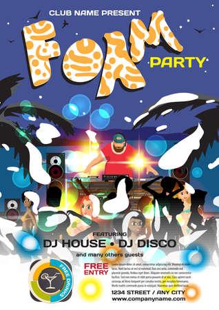 sound system: summer foam party invitation beach style. Night beach, foam, dj with sound system, crowd women in bikinis Illustration