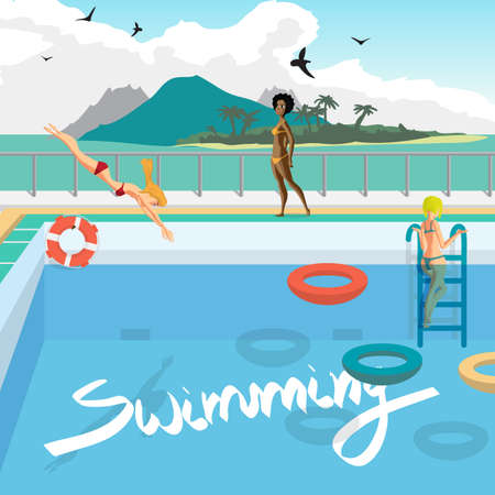 sunbathe: Outdoor swimming pool on the beach in the tropics. Women bathe, sunbathe, dive into the pool.